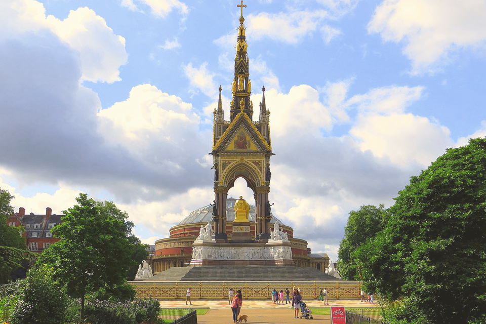 The Albert Memorial in Kensington Gardens, with the Royal Albert Hall behind