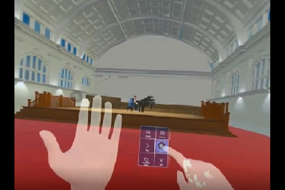 The VR technology in action, showing the RCM's Amaryllis Fleming Concert Hall