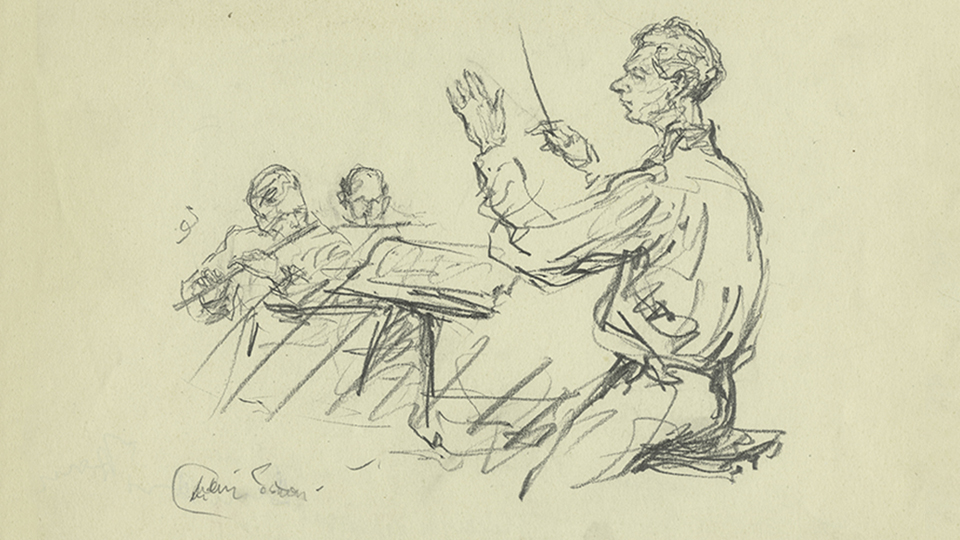 Milein Cosman illustration of Benjamin Britten Conducting