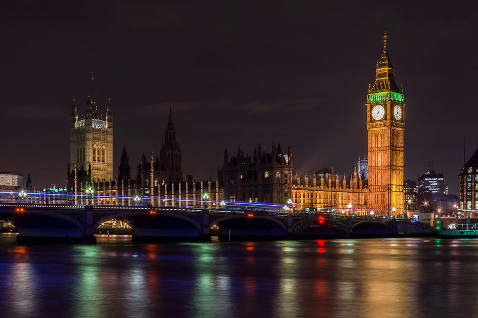 Palace of Westminster and Westminster Bridge at night from Southbank