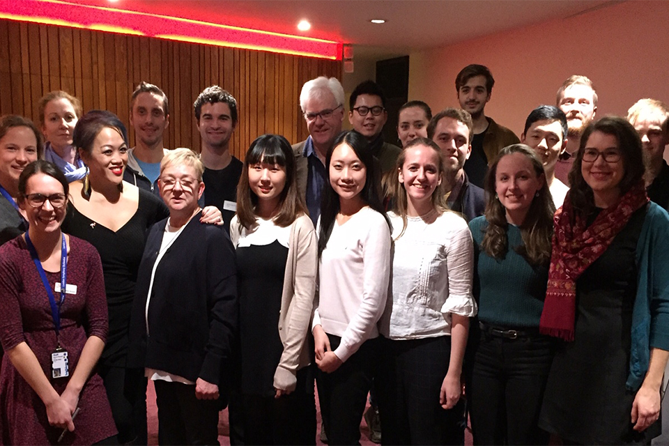 The new intake of 15 String Experience players from the RCM, RAM and Guildhall with LSO players Maxine Kwik-Adams, Sarah Quinn, Robert Turner, Hilary Jones, Tom Goodman and some LSO staff.