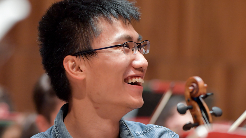 RCM violinist in rehearsal