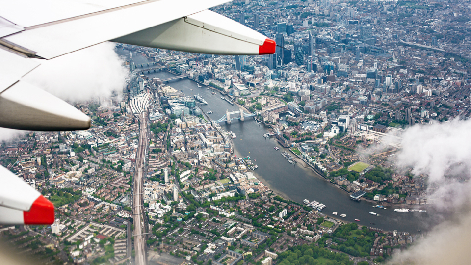 A view of London from an airplane
