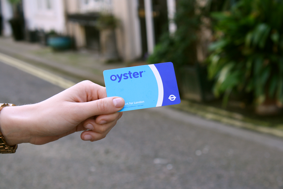 An Oyster Card used for contactless travel payment