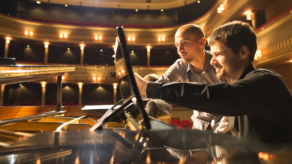 Composer and pianist on Britten Theatre stage