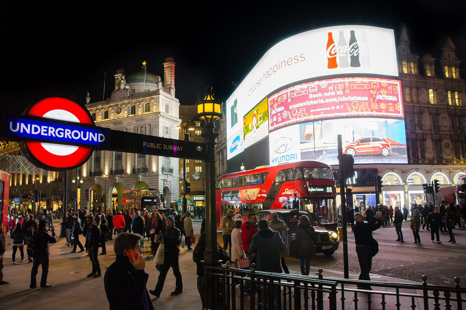The hustle and bustle of Piccadilly Circus in the heart of the West End