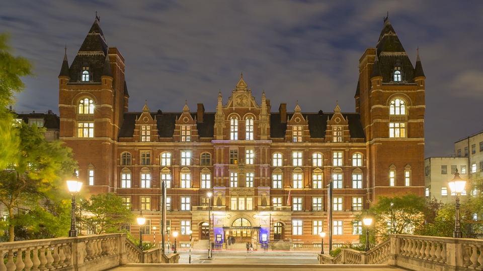 The RCM's Blomfield Building at night