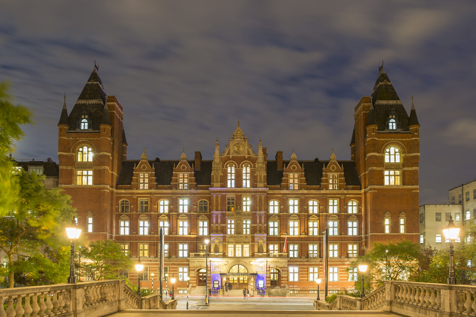 RCM Blomfield Building illuminated at night