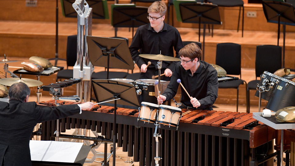 Members of the Junior Department Percussion Ensemble in concert