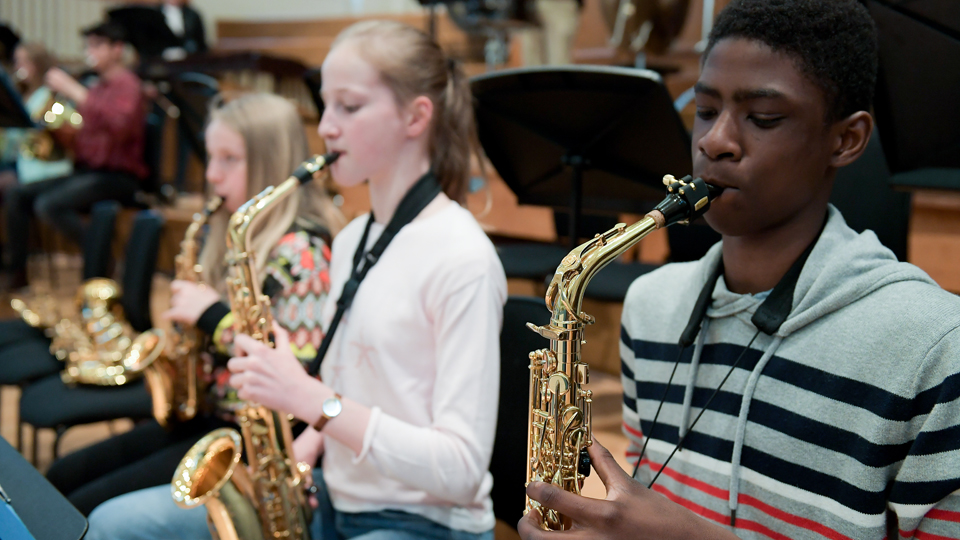 Junior Department saxophonists in rehearsal