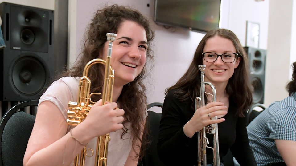 Junior Department trumpeters enjoying a rehearsal