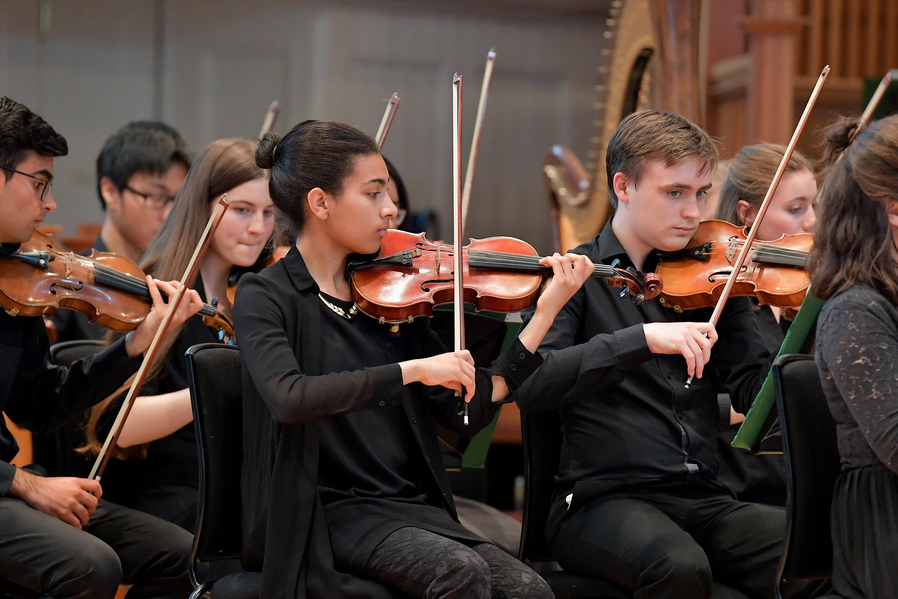 The violin section in a Junior Department orchestra during a concert