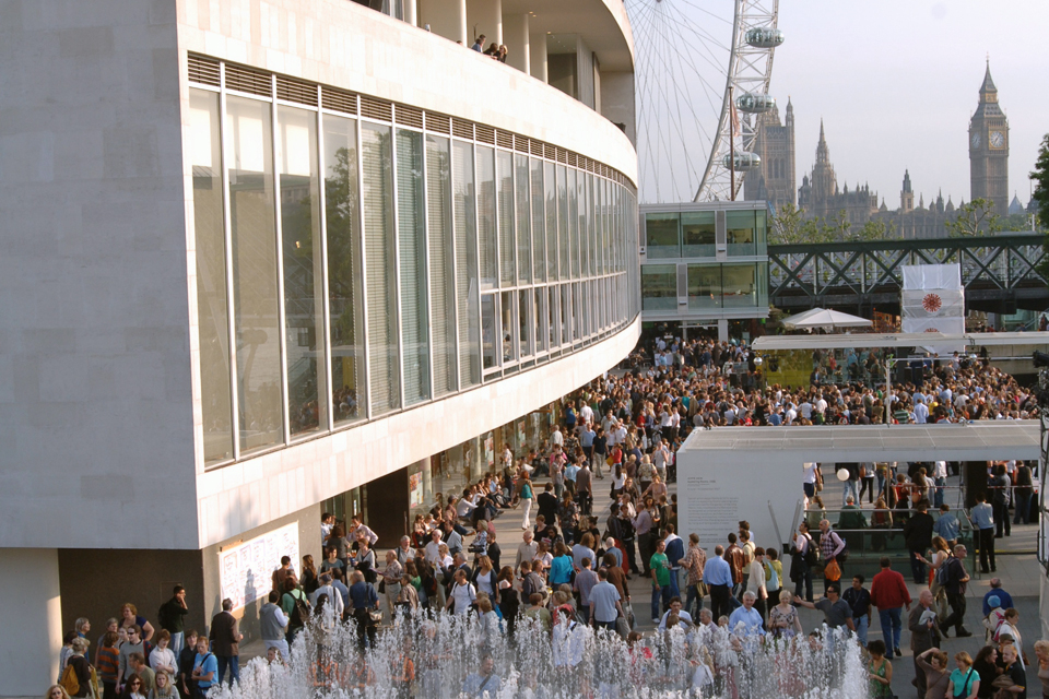 Crowds on the Southbank outside the Royal Festival Hall