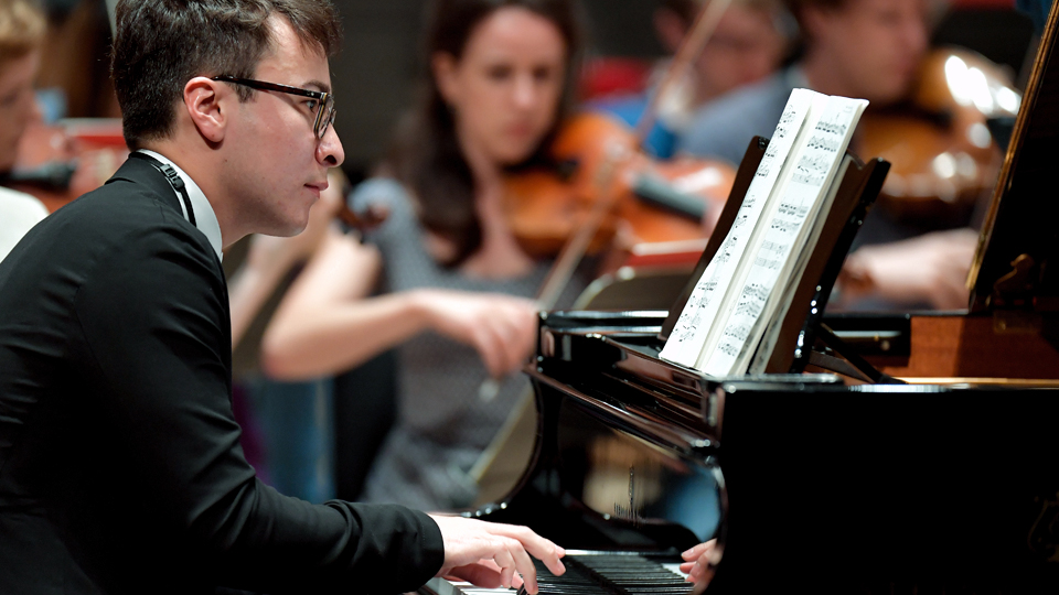 RCM pianist in rehearsal at the Royal Festival Hall