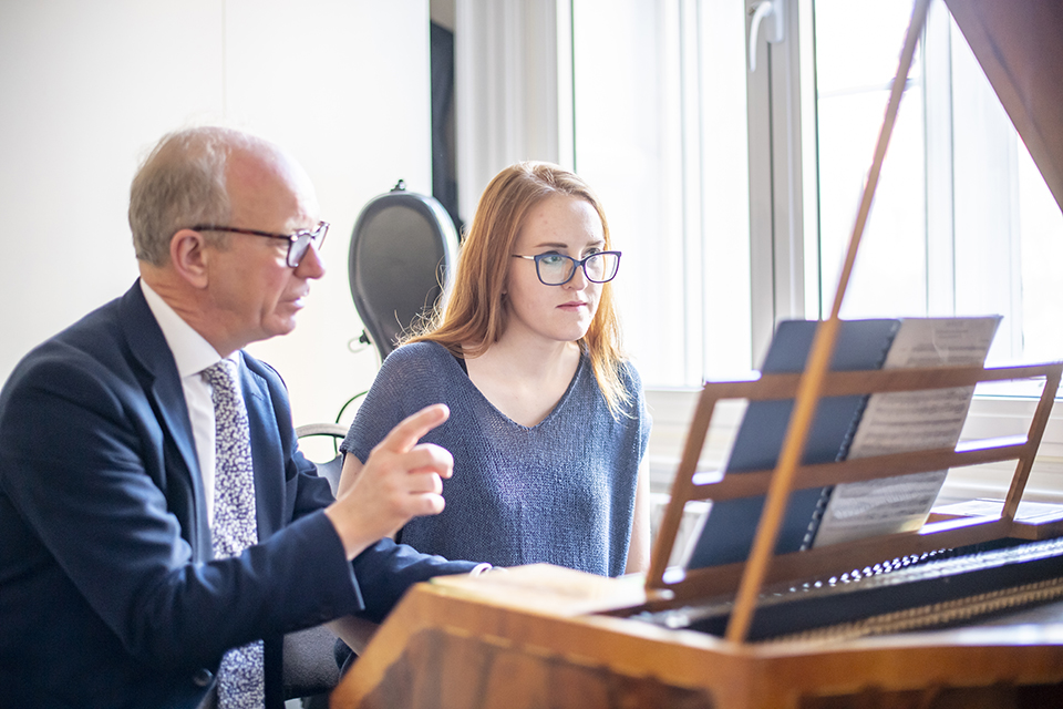 Scholar Dominika Maszcynska in one-to-one fortepiano lesson at the RCM