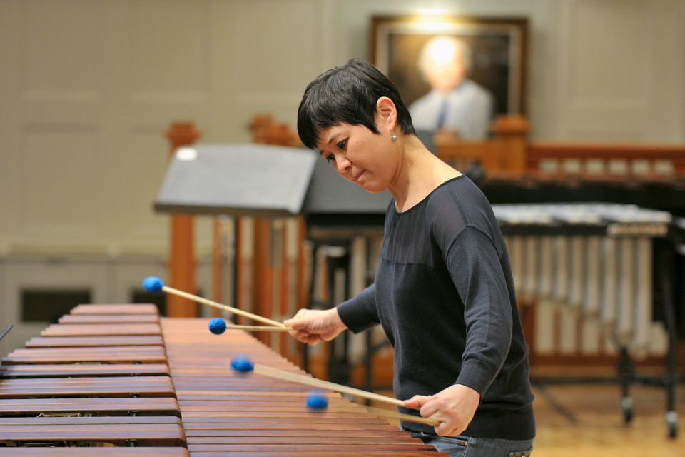She-e Wu rehearsing on marimba in the Amaryllis Fleming Concert Hall