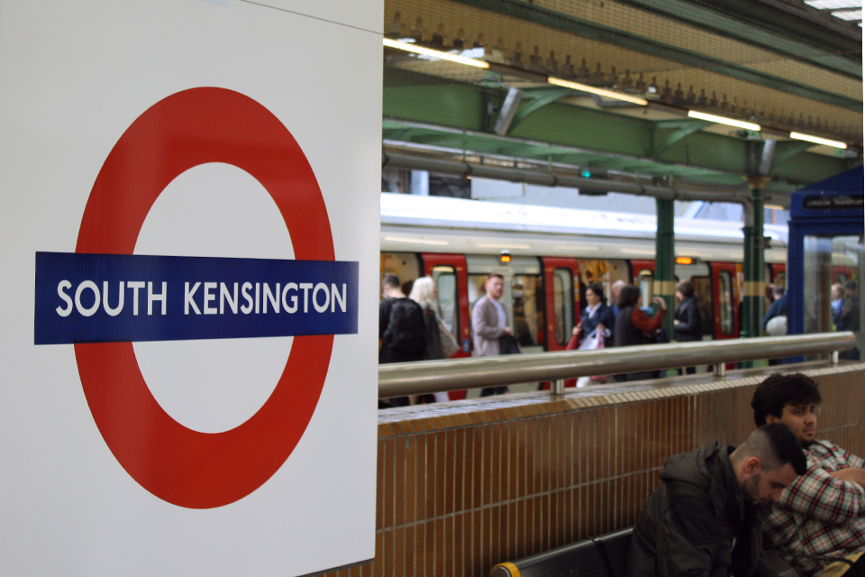 Travellers on the London Underground at South Kensington Station