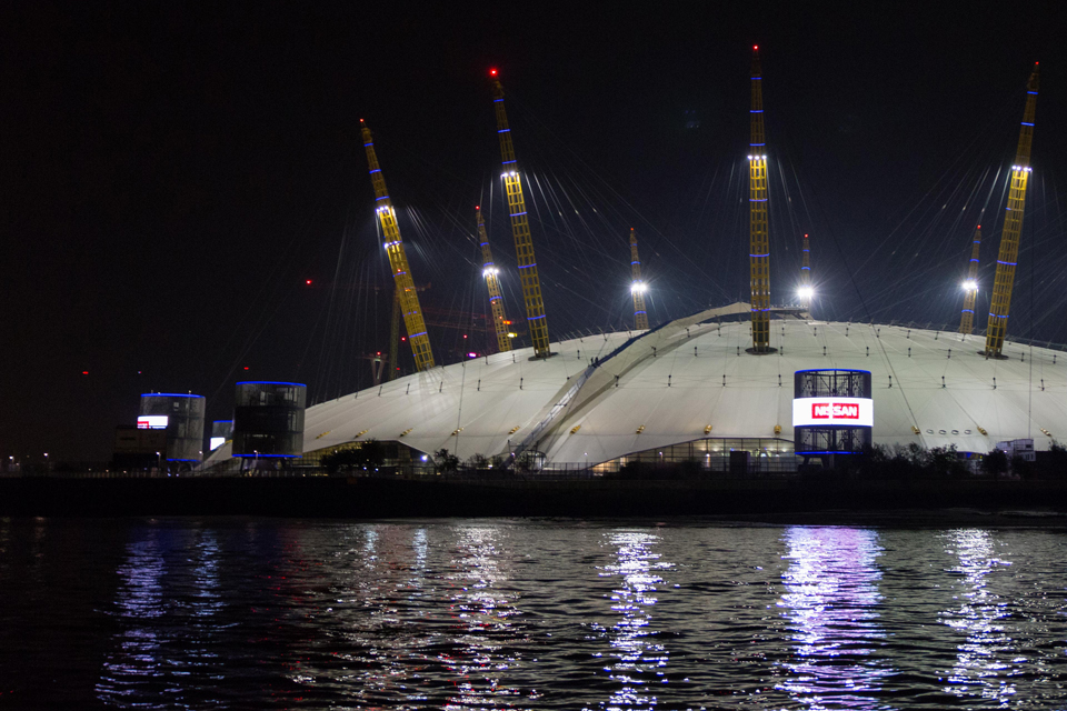 The O2 Arena seen from the River Thames at night