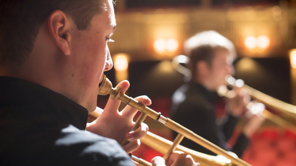 Trombonists in the Britten Theatre