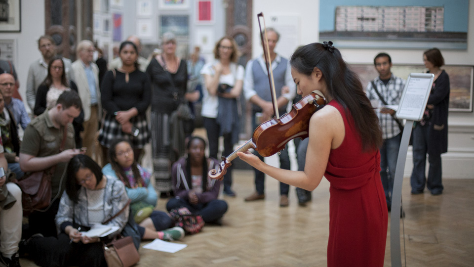 RCM violinist performing at the Royal Academy of Arts