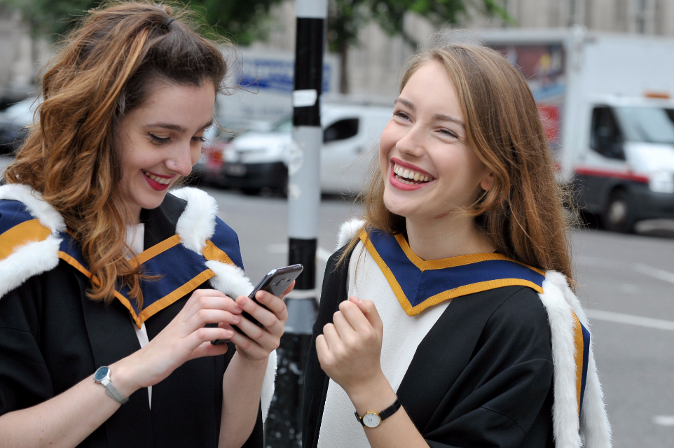 RCM students outside the College during graduation