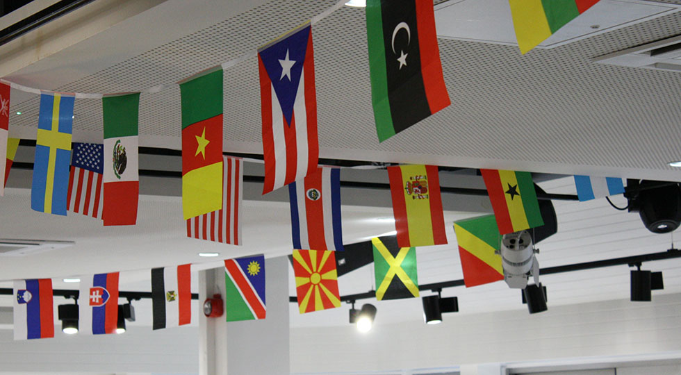 Flags hanging in the RCM canteen