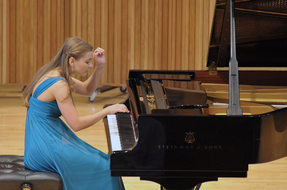 An RCM pianist performing in the Amaryllis Fleming Concert Hall