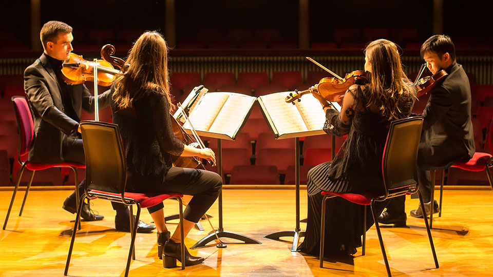 String quartet on the Royal College of Music's Britten Theatre stage