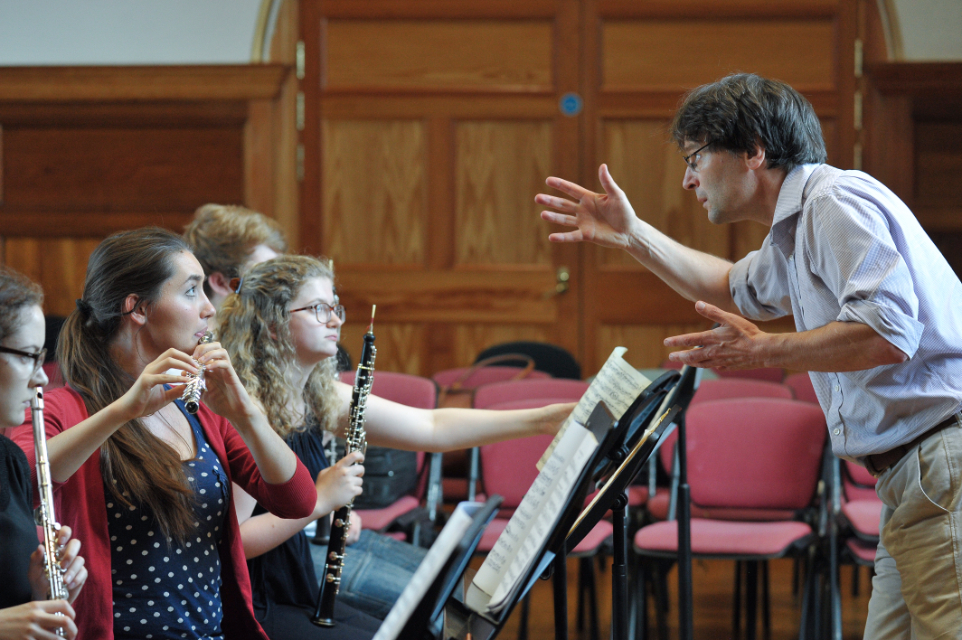 Head of Woodwind Simon Channing rehearses with students